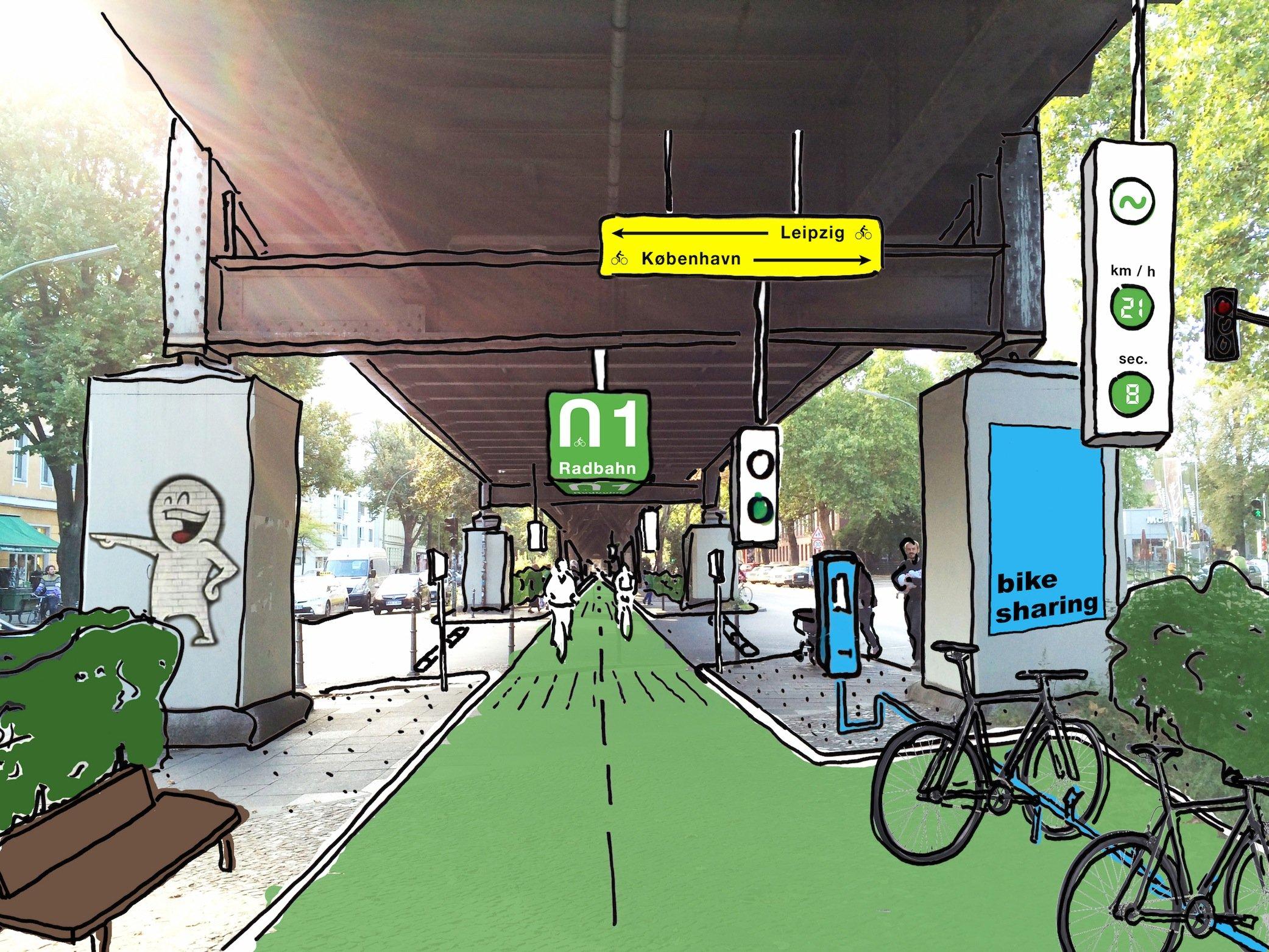 Eine spannende Idee: Ingenieure, Designer und Stadtplaner wollen unter der Hochbahn U1 in Berlin einen Radbahn bauen. Werkstätten, Leihstationen und Cafés hätten auch noch genug Platz. Doch der Hauptgrund für die Trasse: Die Radfahrer können auch bei Regen trocken fahren.