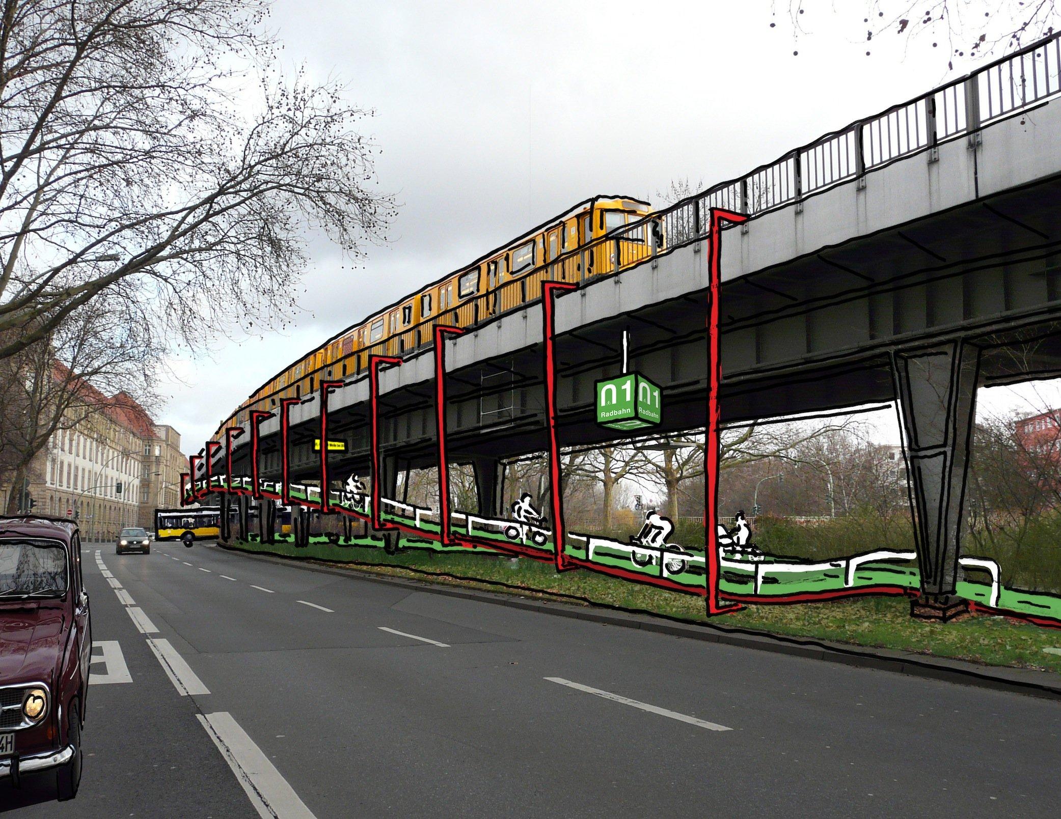 An Kreuzungen schlagen die Initiatoren Rampen vor, die an der Hochbahn hängen und die Radfahrer sicher über den Autoverkehr führen.