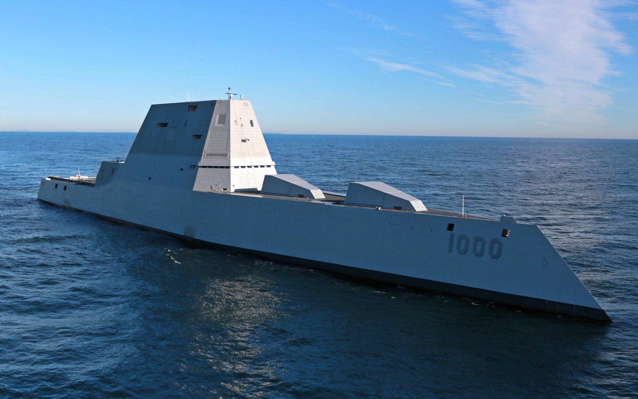 Der Zerstörer USS Zumwalt im Atlantik: Das Schiff soll auf dem Radar nur als kleines Fischerboot zu erkennen sein.
