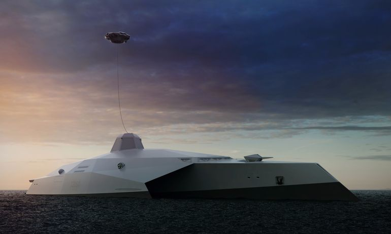 Noch futuristischer als die USS Zumwalt wirkt der Entwurf der Royal Navy für ein Tarnkappen-Schiff.