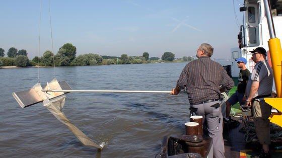 Probeentnahme im Niederrhein bei Rees: Der Manta Trawl hängt von einem Bordkran seitlich im Fluss, um dem Bugwellenschlag und den Wasserverwirbelungen auszuweichen.