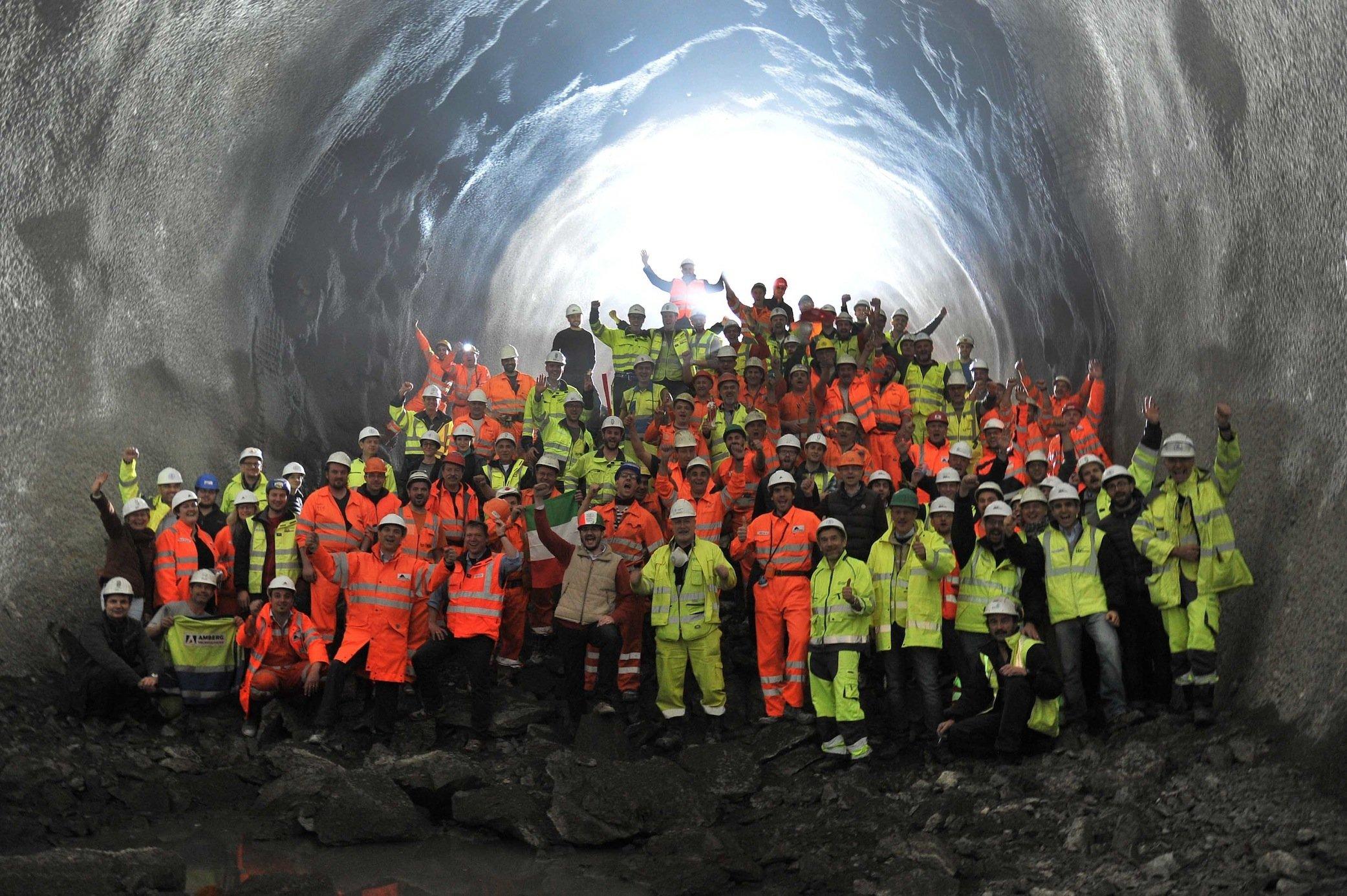 Und noch ein Durchbruch, hier imCeneri-Basistunnel bei Sigrino.