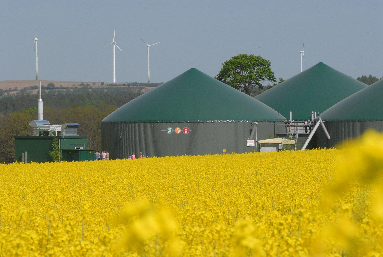 Biogasanlage der Agrargesellschaft Reinhardtsgrimma: 2015 wurden deutlich weniger Anlagen zur Erzeugung von Energie aus Biomasse gebaut als 2014.