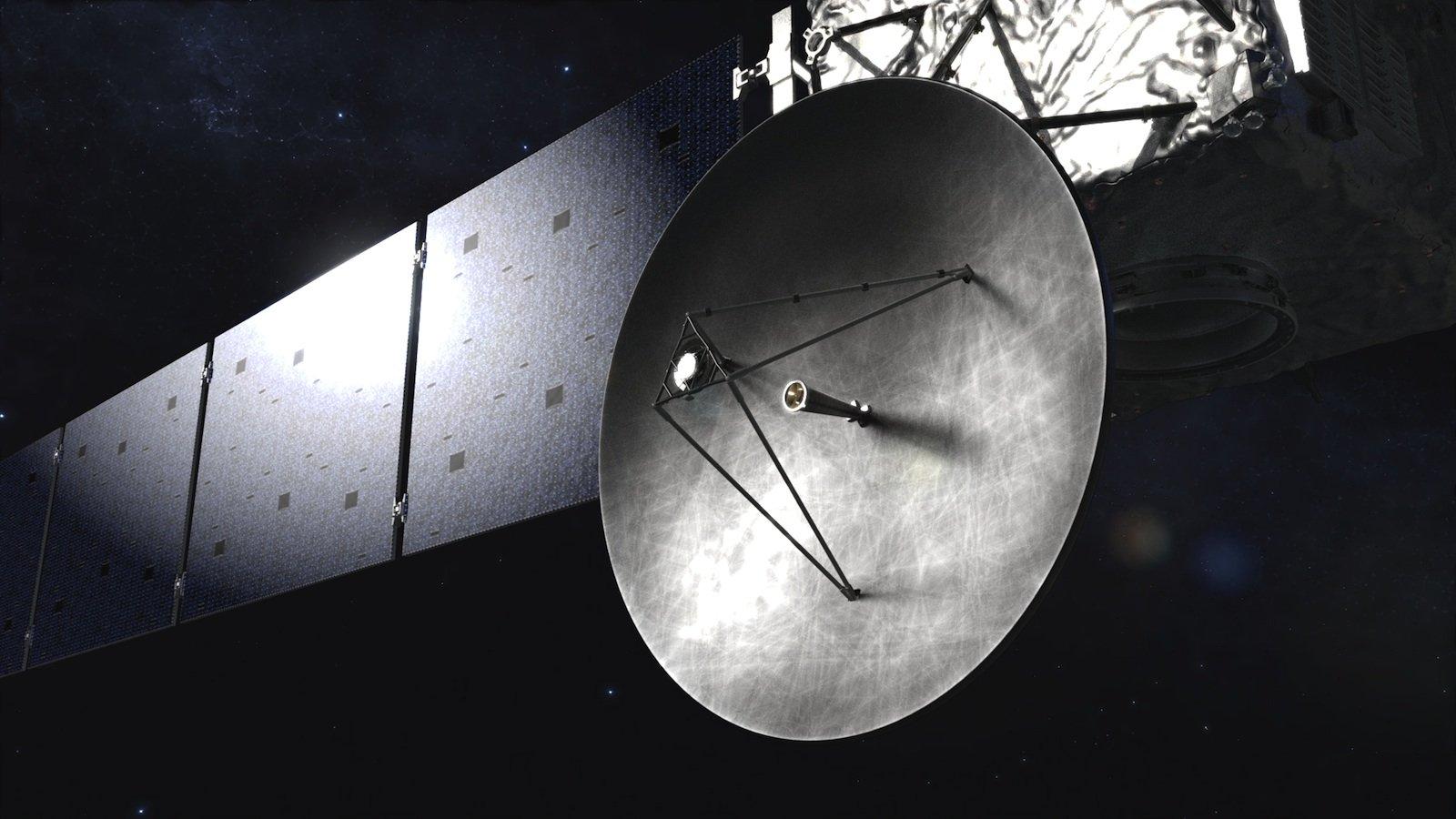 Die Übermittlung der Signale von der Raumsonde Rosetta zur Bodenstation dauert etwa 30 Minuten.