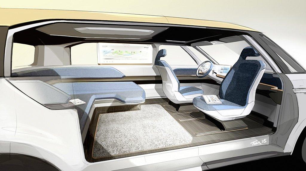Der Innenraum im VW BUDD-e ist richtig groß und geräumig – und der Beifahrer kann sich mit dem Sitz zu den Mitfahrern umdrehen.