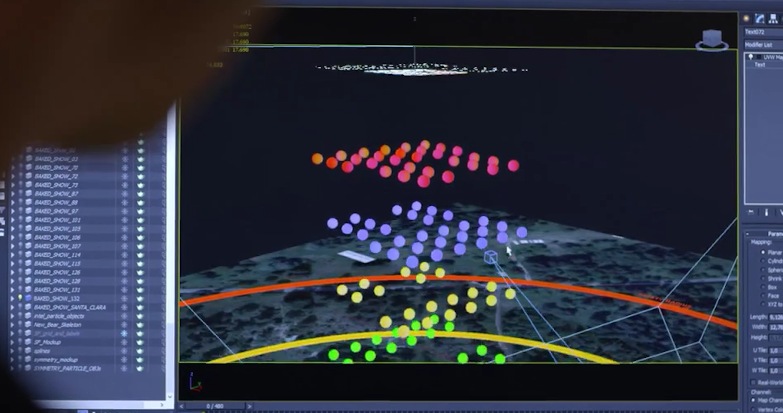 3D-Software von Intel: Die Choreographen haben die Flugbahn jeder einzelnen Drohne festgelegt.