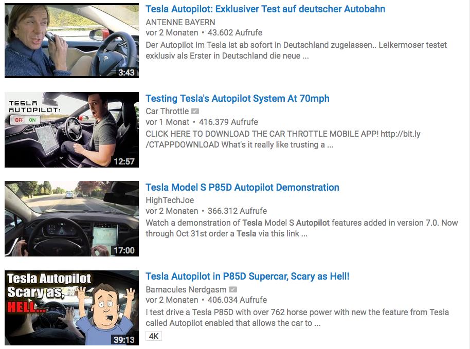 Youtube ist voll von Videos über den Autopiloten von Tesla.