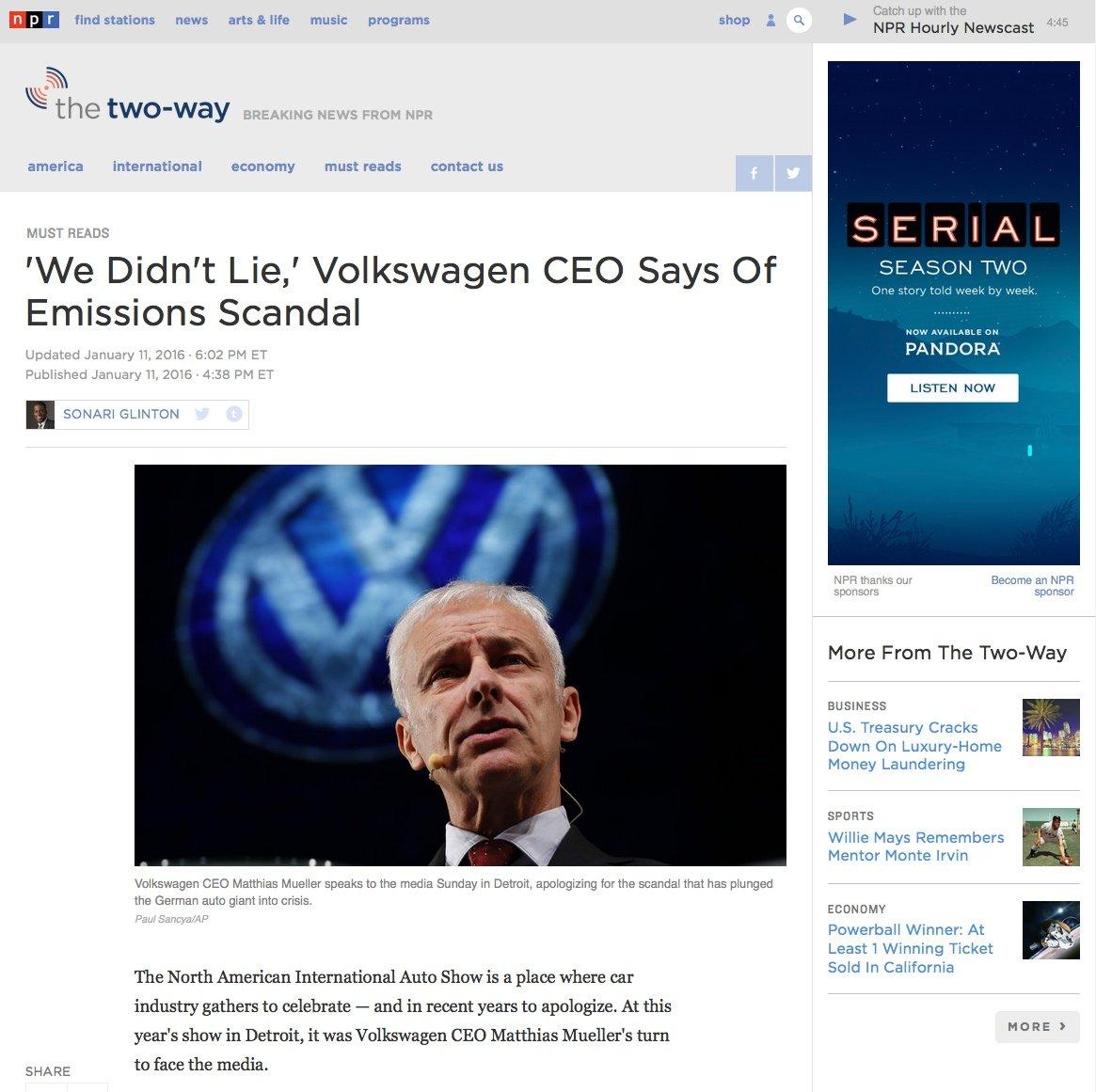 In einem völlig verunglückten Radio-Interview behauptete VW-Chef Müller, dass VW die US-Behörden nicht angelogen, sondern nur die Fragen nicht richtig verstanden habe. Und die US-Gesetze habe man falsch interpretiert. Das Interview ist in den USA zum PR-Gau geworden.