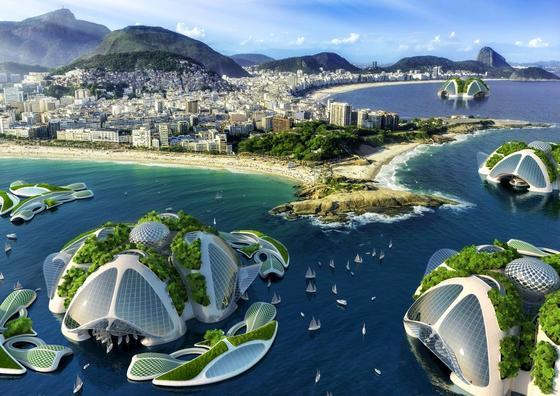 Künstliche Inseln vor der Küste Rio de Janeiros: Vor der brasilianischen Traumstadt will der belgische ArchitektVincent Callebaut Inseln aus Plastikmüll und Algen bauen, auf denen bis zu 20.000 Menschen leben können. Der Wohnraum reicht bis zu 1000 m tief ins Meer.