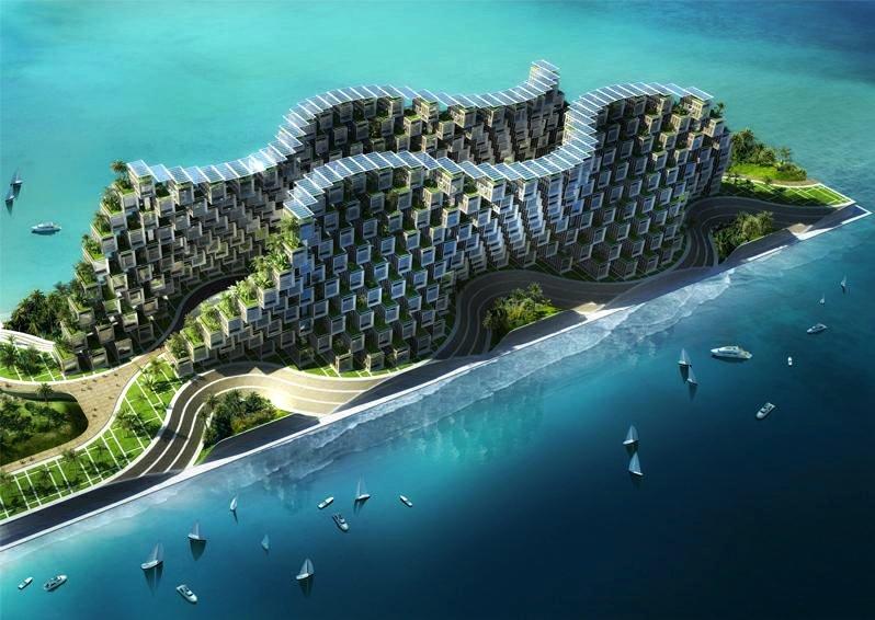 Zur Linderung der Wohnungsnot in der haitianischen Hauptstadt Port-au-Prince hat Callebaut einen riesigen Wohnkomplex in Form eines künstlichen Korallenriffs entworfen.