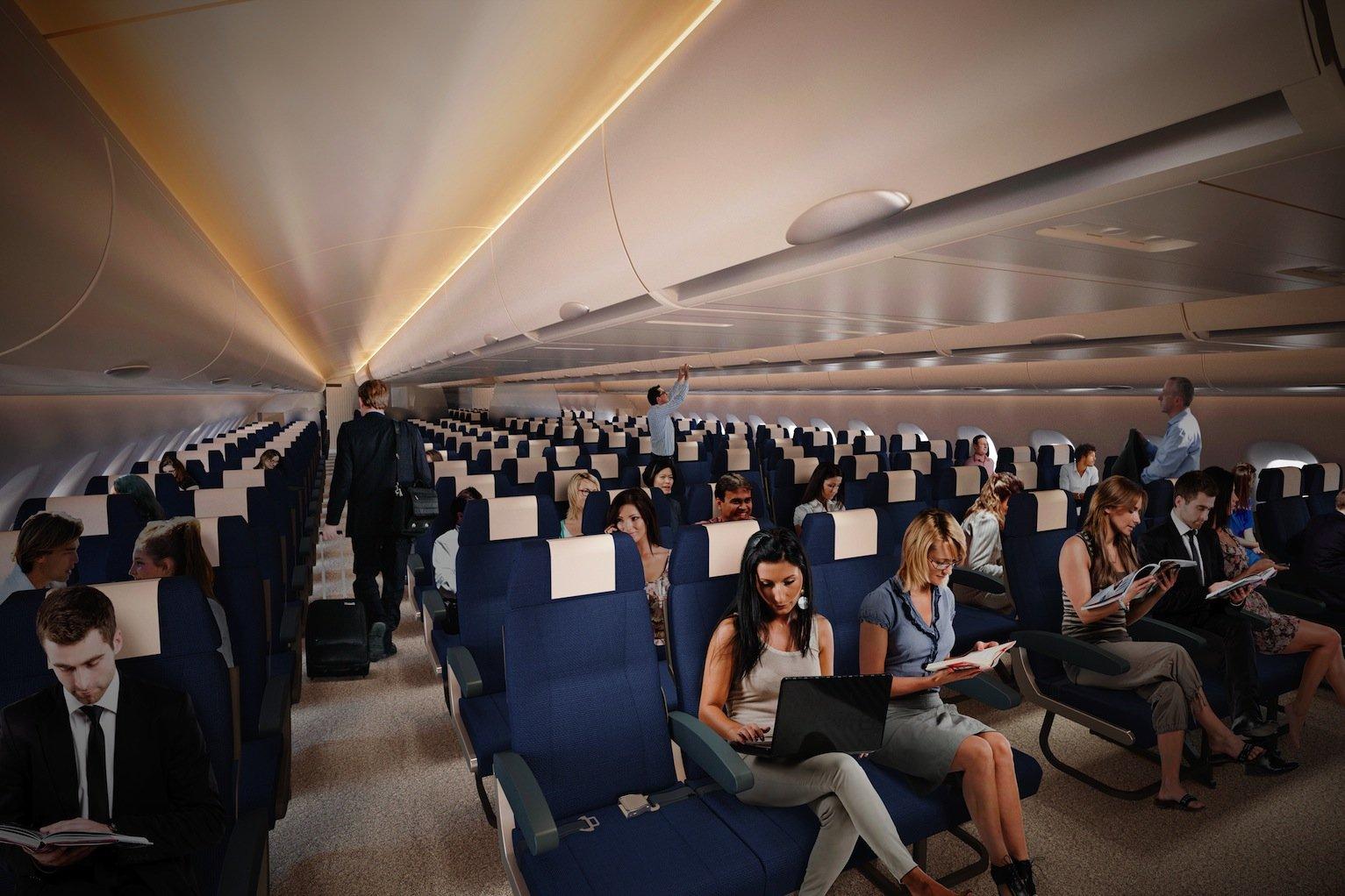 Der Großraumjet bietet Passagieren durch seine plattgedrückte Form deutlich mehr Platz.