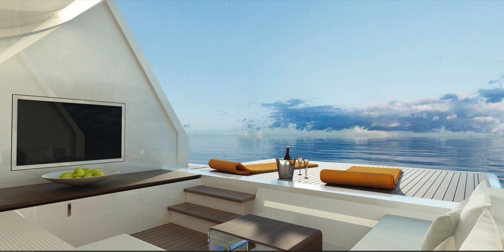 Ein Beachclub mit Liegefläche direkt am Wasser ist eines der Highlights der Luxus-Yacht Explorer der Bremer Werft Drettmann.