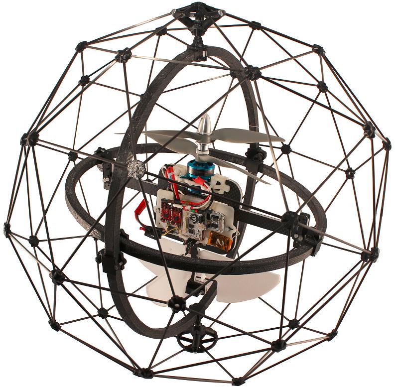 Drohne mit Drahtkorb: Gimball ist mit einer Kamera ausgestattet und soll damit unzugängliche Unglücksstätten erkunden und verunglückte Personen finden.