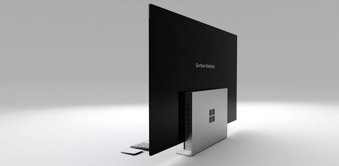 Der Bildschirm des Windows-Computers ist besonders schlank, weil die Technik im Fuß sitzt.