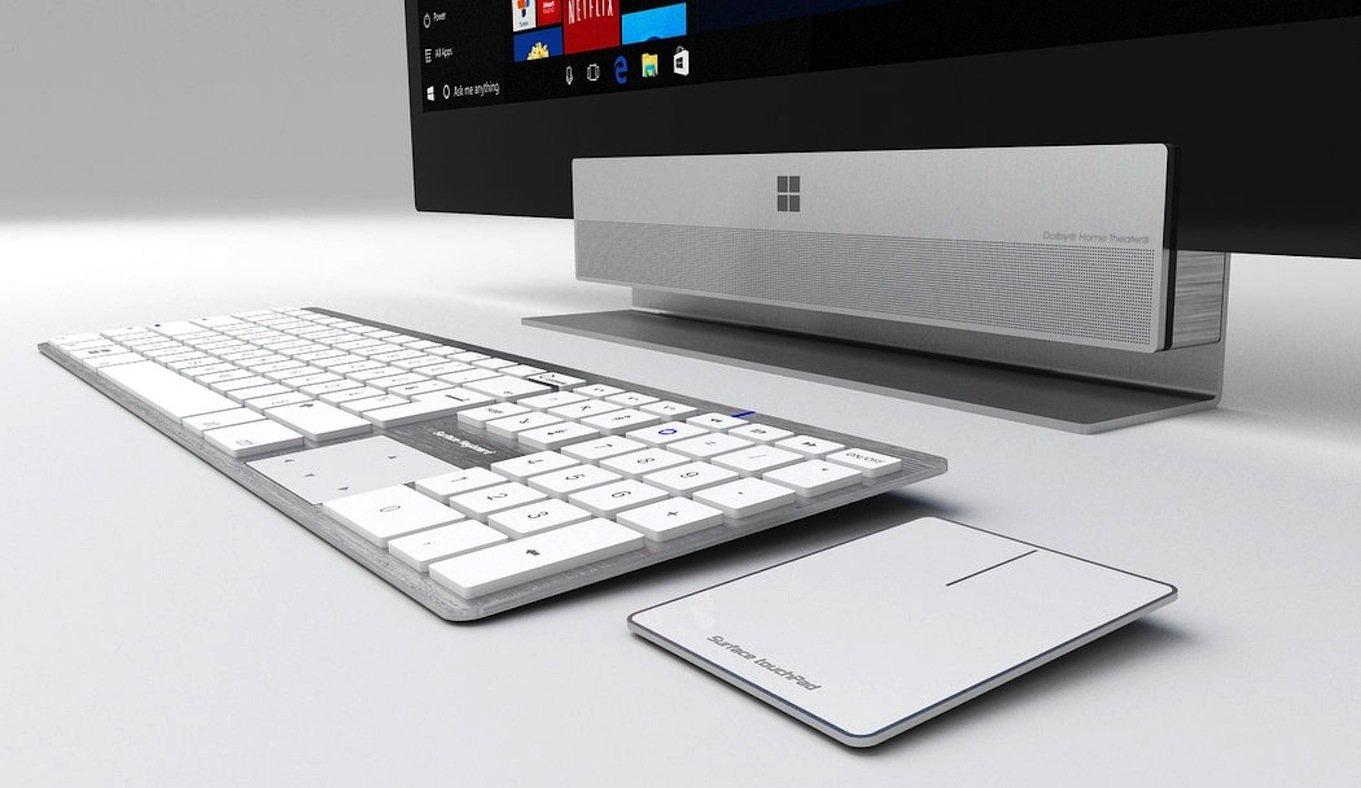 Der Computer-Entwurf des DesignersAzis BelKharmoudi erinnert stark an den Mac: Tastatur und Trackpad sehen aus wie Kopien. Anders der Bildschirm: Während Apple die Computertechnik im Bildschirm unterbringt, sitzt sie beimBelKharmoudi-Entwurf im Fuß.