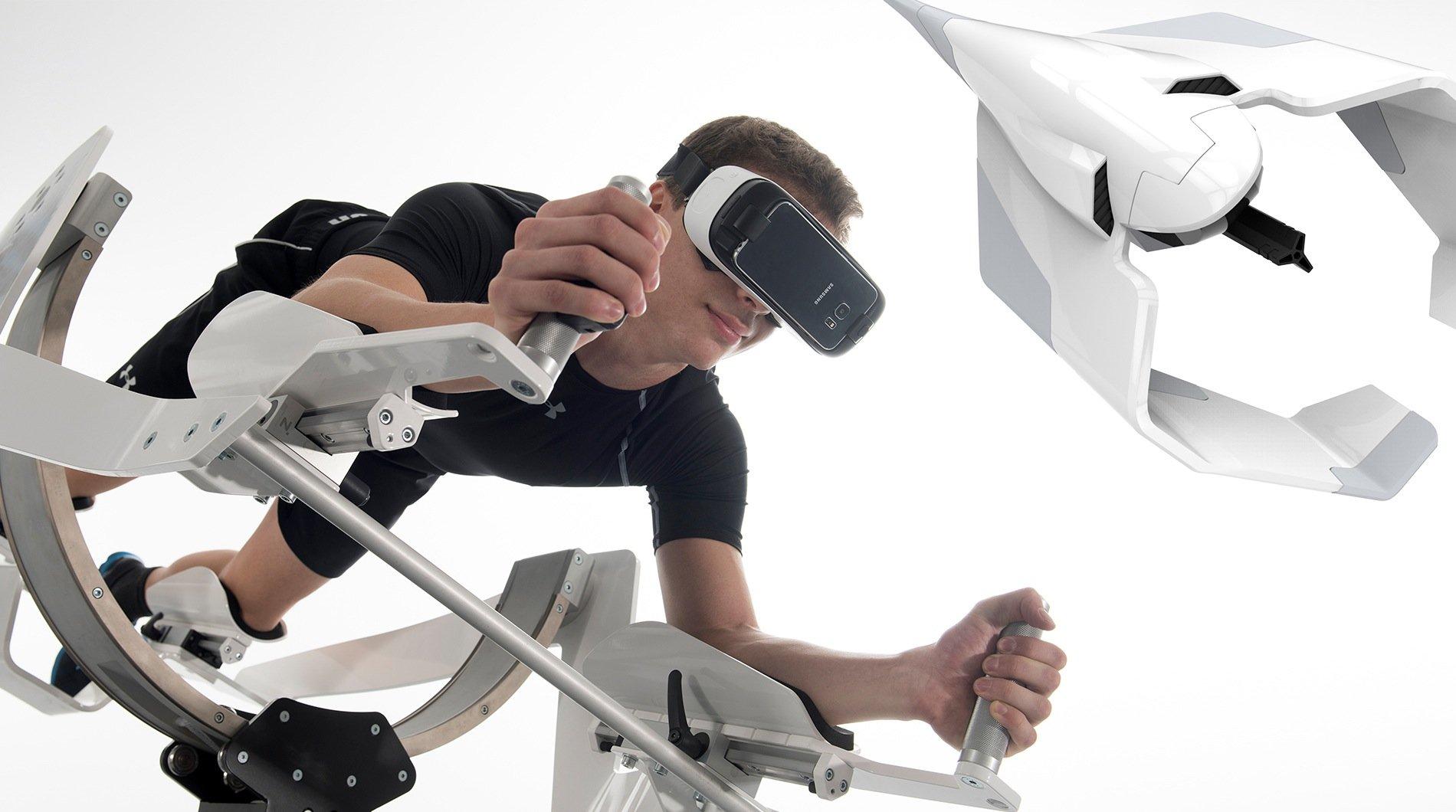 Das FitnessgerätIcaros ermöglicht dank VR-Brille ganz neue Trainingsmöglichkeiten – bis hin zum Fliegen. Aber der Muskelkater soll echt sein.