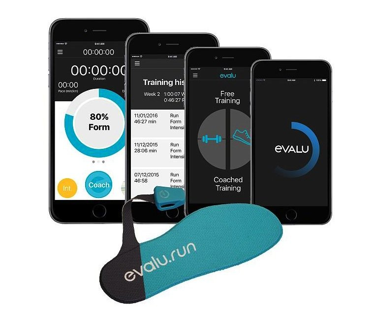 Diese intelligente Schuhsohle von Evalu zeichnet den Laufstil auf und überträgt die Daten aufs Smartphone. Dadurch kann man beobachten, ob man falsch auftritt, einseitig belastet und wie man seinen Laufstil verbessern kann.