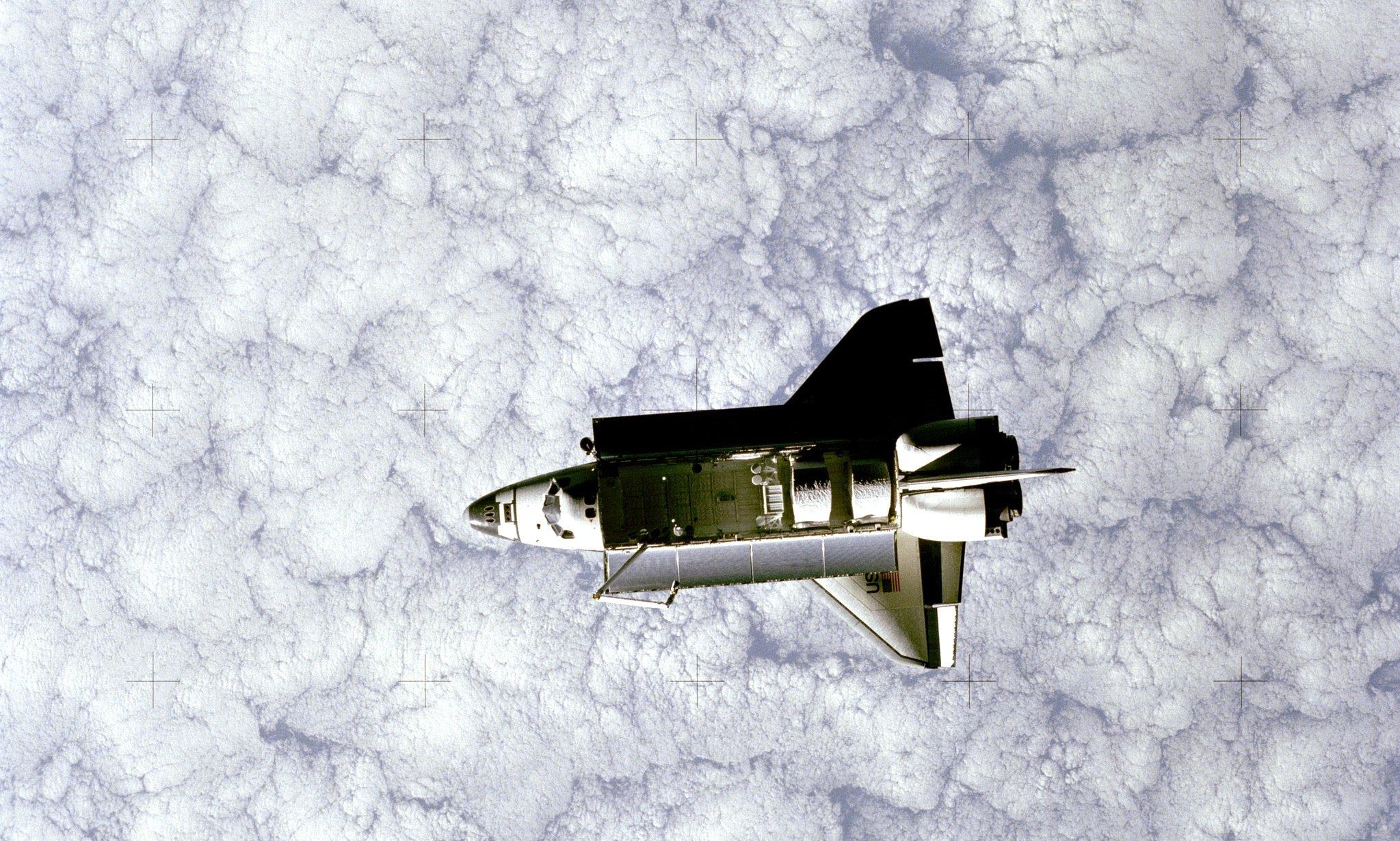 Die Challengeram 22. Juni 1983, fotografiert vomSpace Pallet Satelliten.
