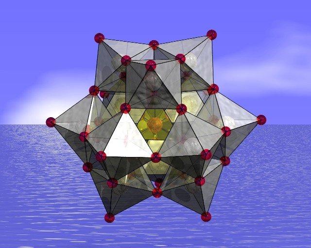Modell der chemischen Verbindung Polyoxometallat, kurz POM.
