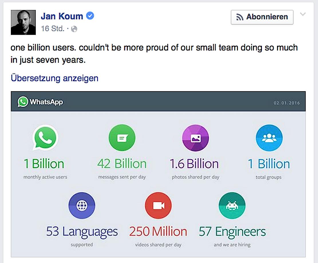 """""""Ich könnte stolzer nicht sein, mit unserem kleinen Team soviel in sieben Jahren erreicht zu haben"""", schrieb WhatsApp-Gründer Jan Koum auf Facebook."""