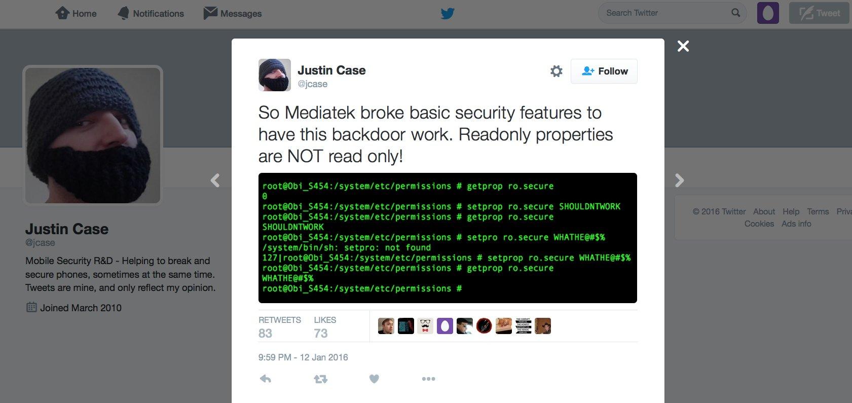 Das war die erste Meldung von Justin Case auf Twitter über die Möglichkeit, dass Hacker die Daten von Android-Smartphones abschöpfen können.