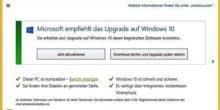 Wenn Sie dieses Fenster wegklicken, kommt Windows 10