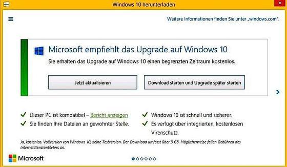 Derzeit werden Windows-User zum Upgraden auf Windows 10 aufgefordert. Das Fenster einfach nur wegklicken, sollte man nicht.