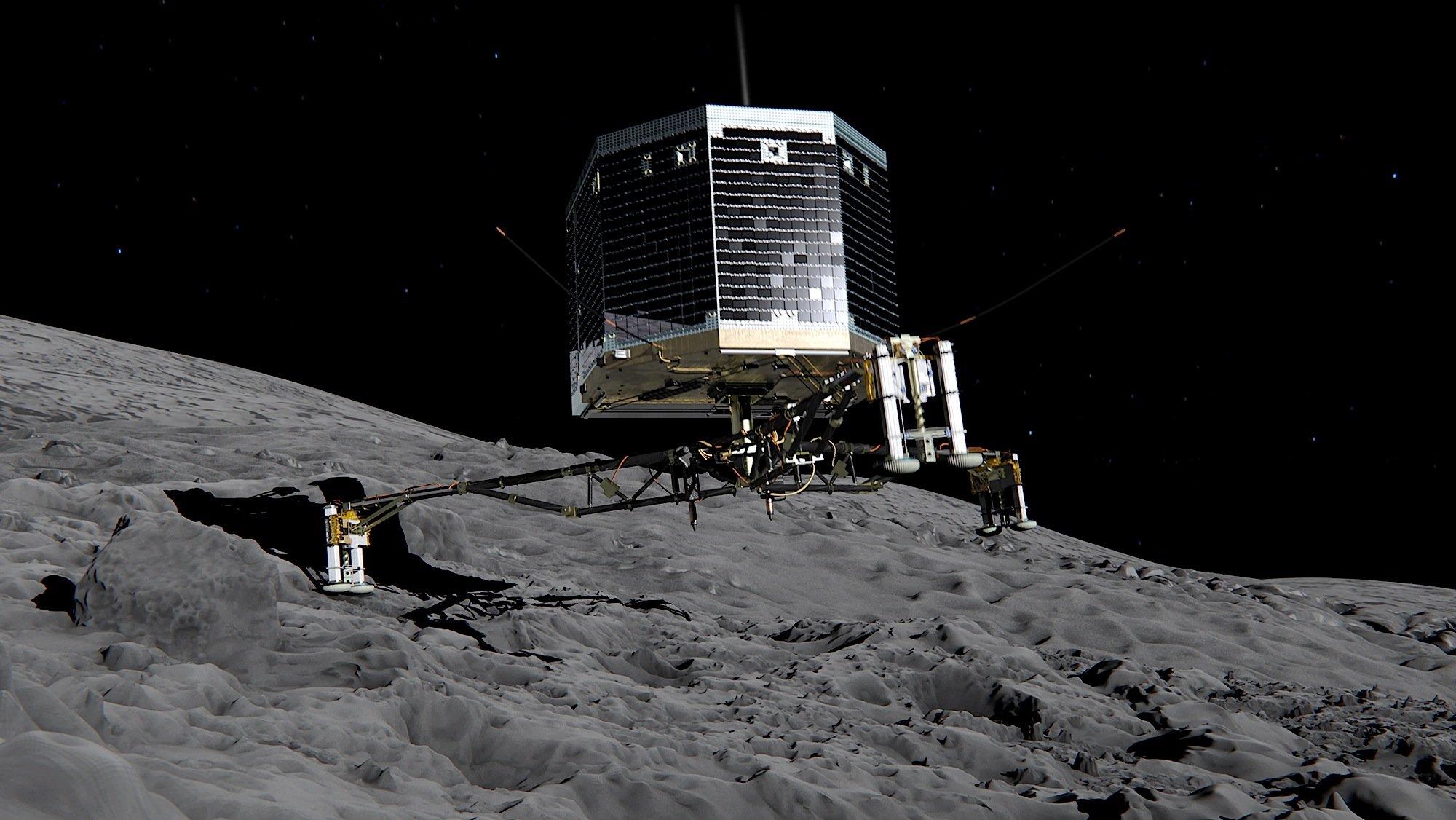 Animation der Landung von Philae auf dem Kometen Tschuri: Wegen zu geringen Sonnenlichtes konnte Philae seit November 2014 keine Daten zur Erde schicken.