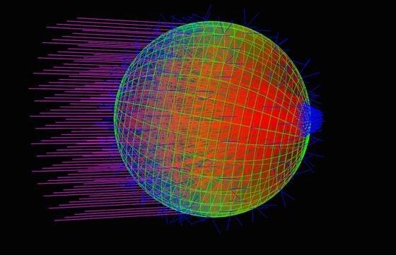 Augapfel im Mini-Format: Das Modell eines Cyanobakteriums zeigt, wie das Licht auf dem Weg durch die Zelle in einem Punkt gebündelt wird.
