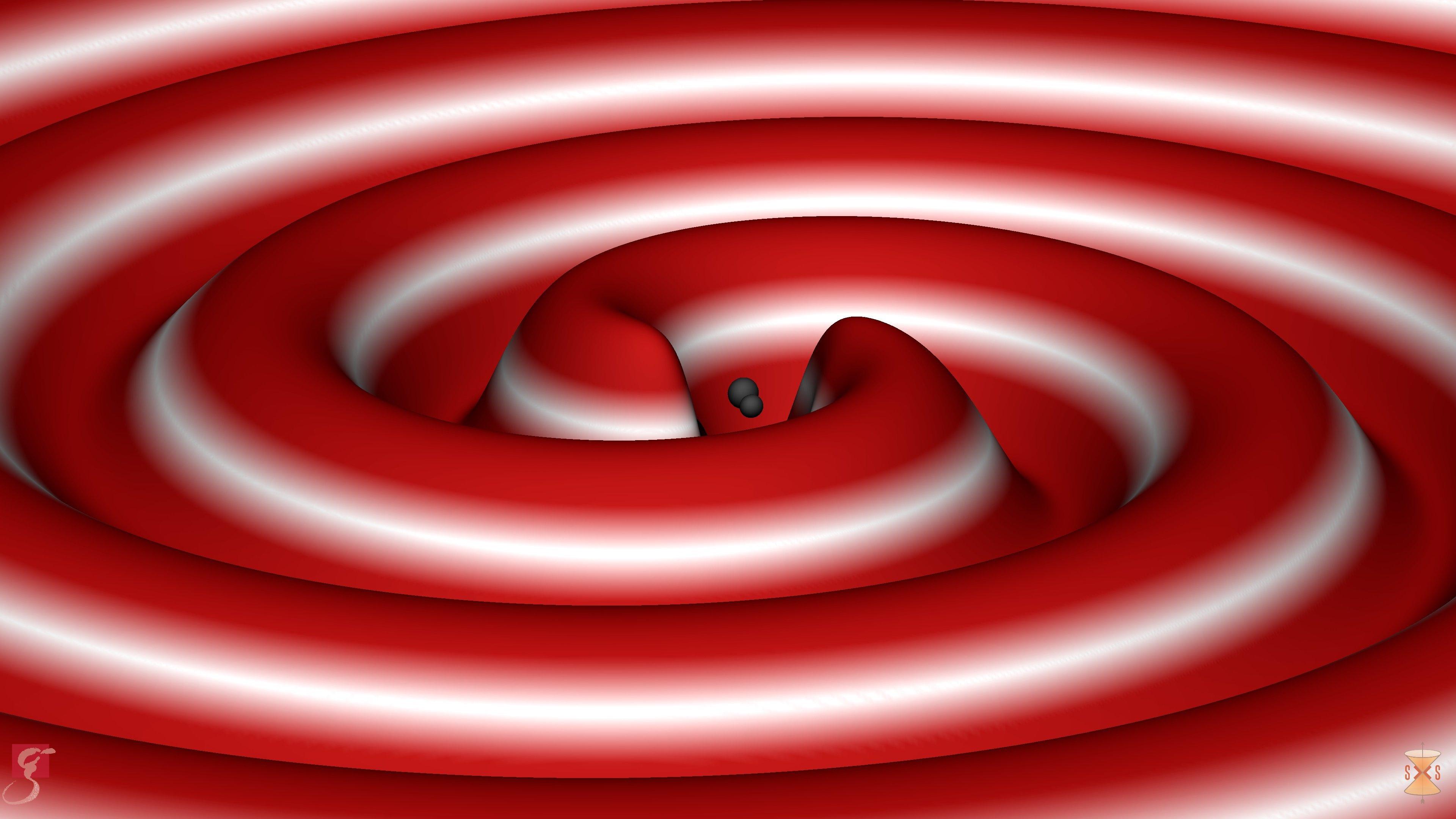 Die Simulation visualisiert dreidimensional, wie zwei Schwarze Löcher verschmelzen – unter Abstrahlung von Gravitationswellen.