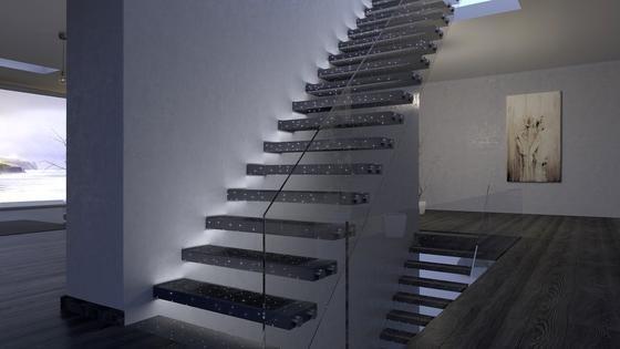 Treppe aus Beton mit eingebauter Lichttechnik: Die Bautechnikmesse Bautec, die am 16. Februar in Berlin beginnt, stellt zahlreiche Innovationen aus dem Bausektor vor. Wir haben sieben spannende Innovationen für Sie herausgesucht.