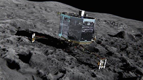 Mit Lander Philae konnten erstmals Messungen direkt auf einer Kometenoberfläche durchgeführt werden. Das Landegerät setzte am 12. November 2014 auf und betrieb über 60 Stunden lang die wissenschaftlichen Instrumente an Bord. Alle Daten konnten zur Erde gesendet werden.