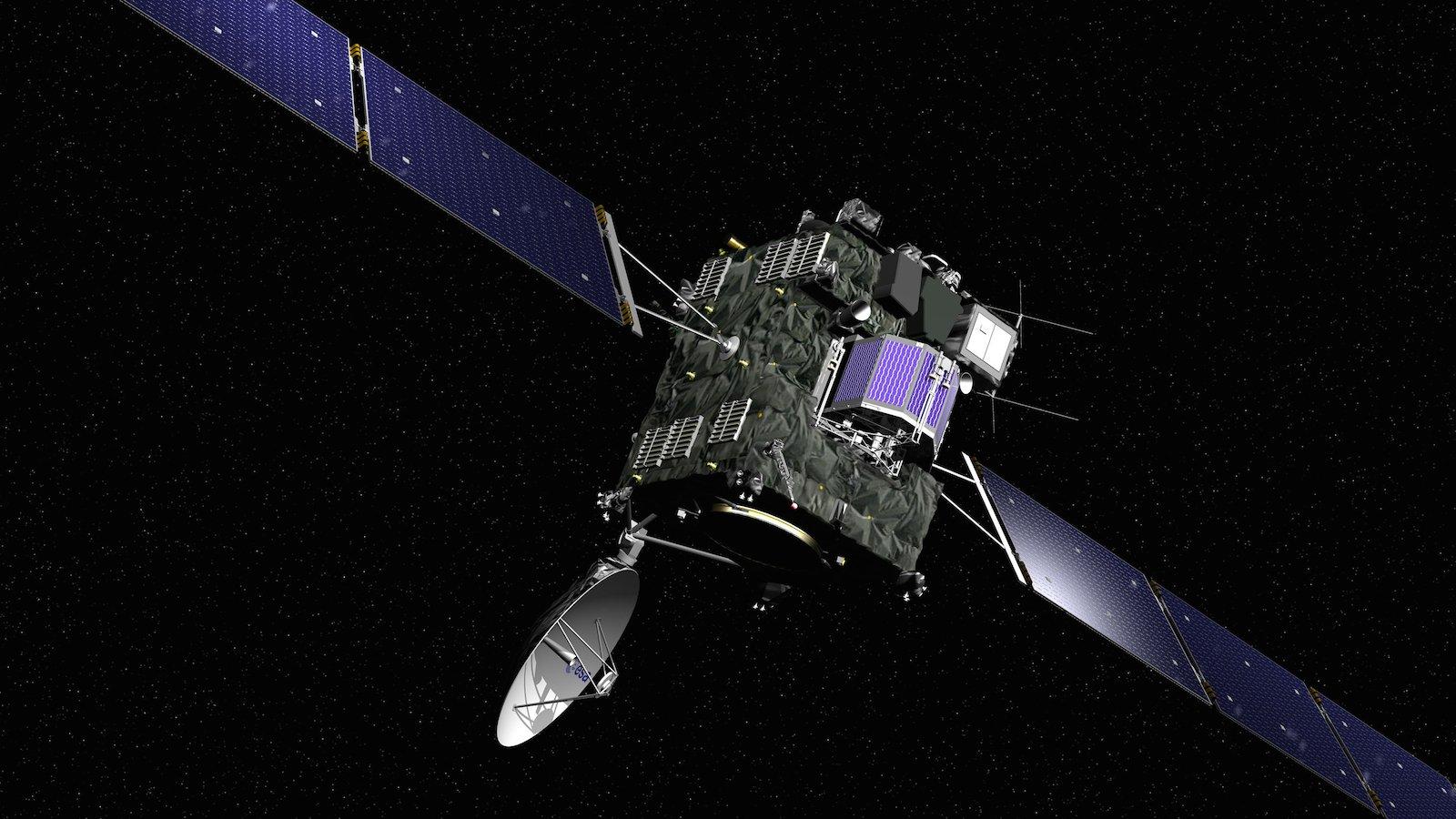 Da waren sie noch zusammen im All unterwegs: Die Sonde Rosetta mit dem Kometenlander Philae an Bord.