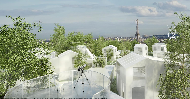 Auf der riesigen Dachterrasse sollen die Bewohner wie im Wald joggen können.