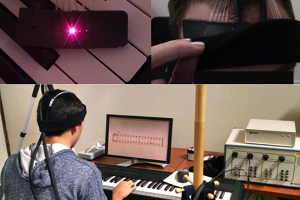 Während die Probanden Klavier spielten wurde der Sauerstoffgehalt in der betreffenden aktiven Hirnregion gemessen. Daran lässt sich ablesen, wie stark der Schüler von der Übung gefordert ist.
