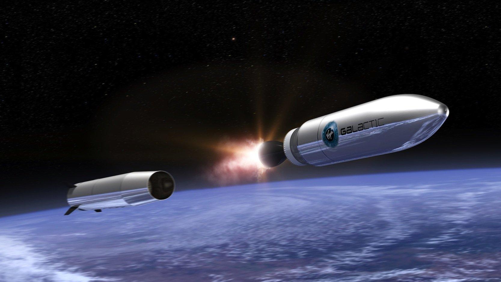 Mit eigenen Raketen, die von einem Jumbo aus in 11.000 m Flughöhe starten, will Virgin Galactic künftig Satelliten in ihre Umlaufbahn bringen.