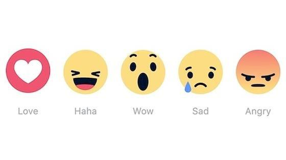 Die neuen Facebook-Emjojis Love, Haha, Wow, Sad, Angry: Mit ihnenkommen Liebe, Lachen, Überraschung, Traurigkeit und Wut auf die Seiten des Online-Netzwerkes.