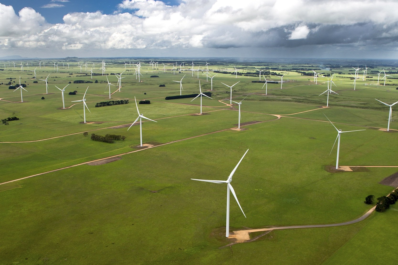 Windpark des dänischen Herstellers Vestas im australischen Macarthur. Das Unternehmen wird als Weltmarktführer gerade von Siemens abgelöst.