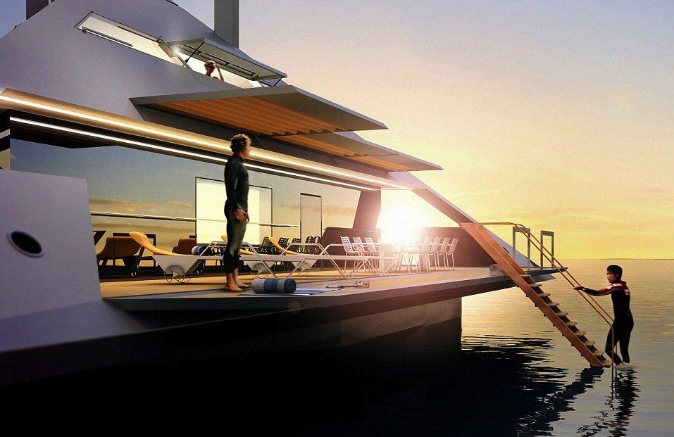 Die pyramidenförmige Yacht Tetra lässt sich auch in ein Strandhaus verwandeln. Dafür werden die Seitenwände heruntergeklappt.