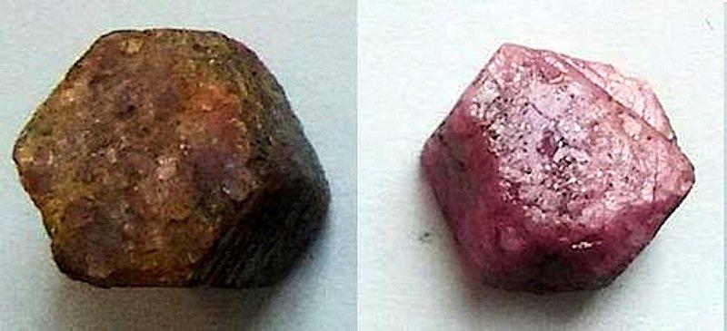 Aus dem hässlichen Entlein einen schönen Schwan gemacht: ein Rubin vor der Behandlung mit Mikrowellen (li.) und danach (re.).