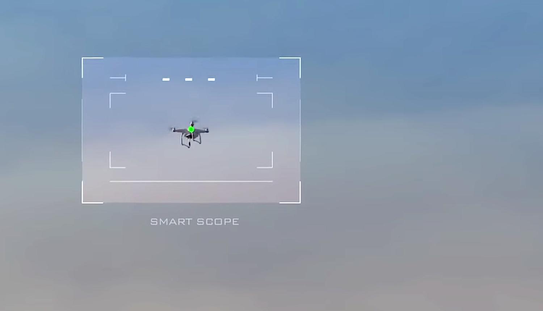 Blick durch das Visier der Skywall 100: Sobald der Schütze richtig zielt, erscheint ein grüner Punkt.
