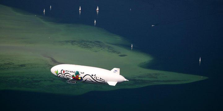 Das größte Passagierluftschiff der Welt startet mit Propellern