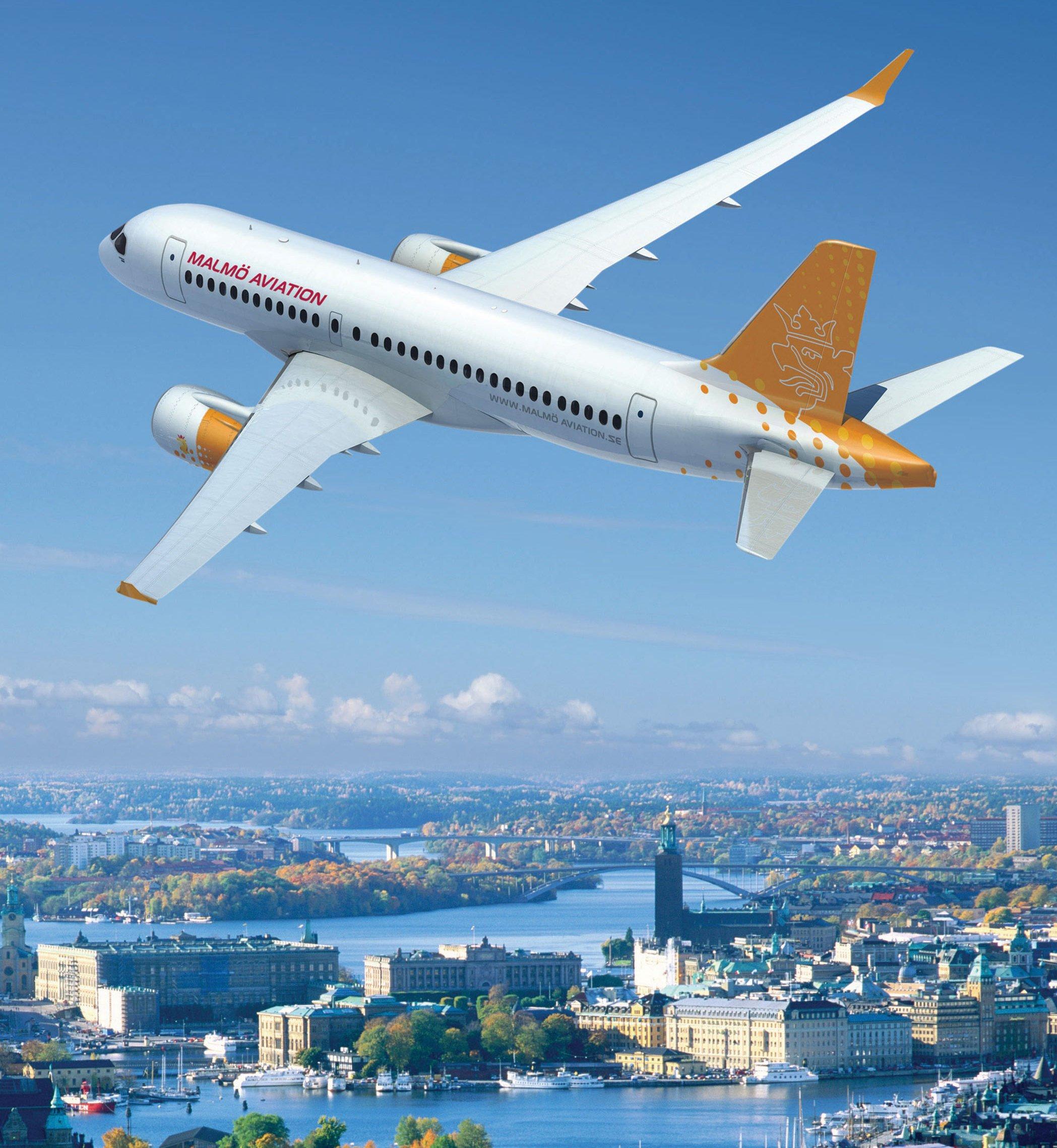 Flugzeug ModellCS100:Der kanadische Flugzeughersteller Bombardier hatte 2015 erklärt, er werde in seine neue CSeries einen Streaming-Service implementieren, der Echtzeitdaten aufzeichnet und übermittelt.