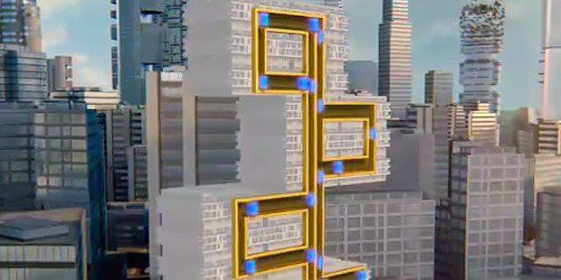 Verlauf des magnetischen Aufzugsystems in einem Gebäude