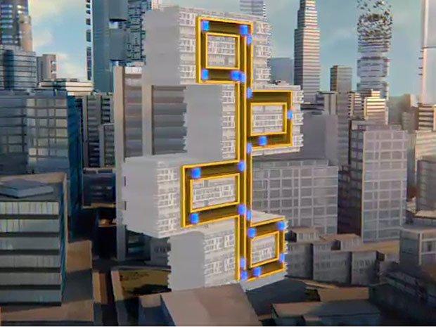 ThyssenKrupp arbeitet an einer völlig neuen Lift-Technologie, bei der die Bewegung auf mehreren Achsen stattfindet. Ohne Kabel. Die freischwebenden Transportkapseln werden mittels Magnetkraft in mehreren Kreisläufen und in jeweils einer Richtung durch das Gebäude geschickt.