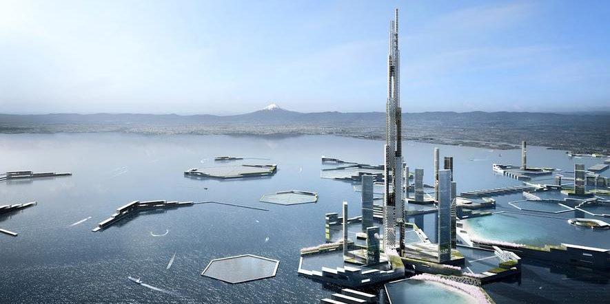 Vision: 1600 m hoher Wolkenkratzer im Meer vor Tokio