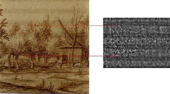 Das Foto links zeigt eine Handzeichnung von Jan Lievens aus der Rembrandt-Schule. In dieser Durchlichtaufnahme ist das bekrönte Lilienwappen als Wasserzeichen im Gegensatz zu der Thermographieaufnahme (re.) nicht zu erkennen.
