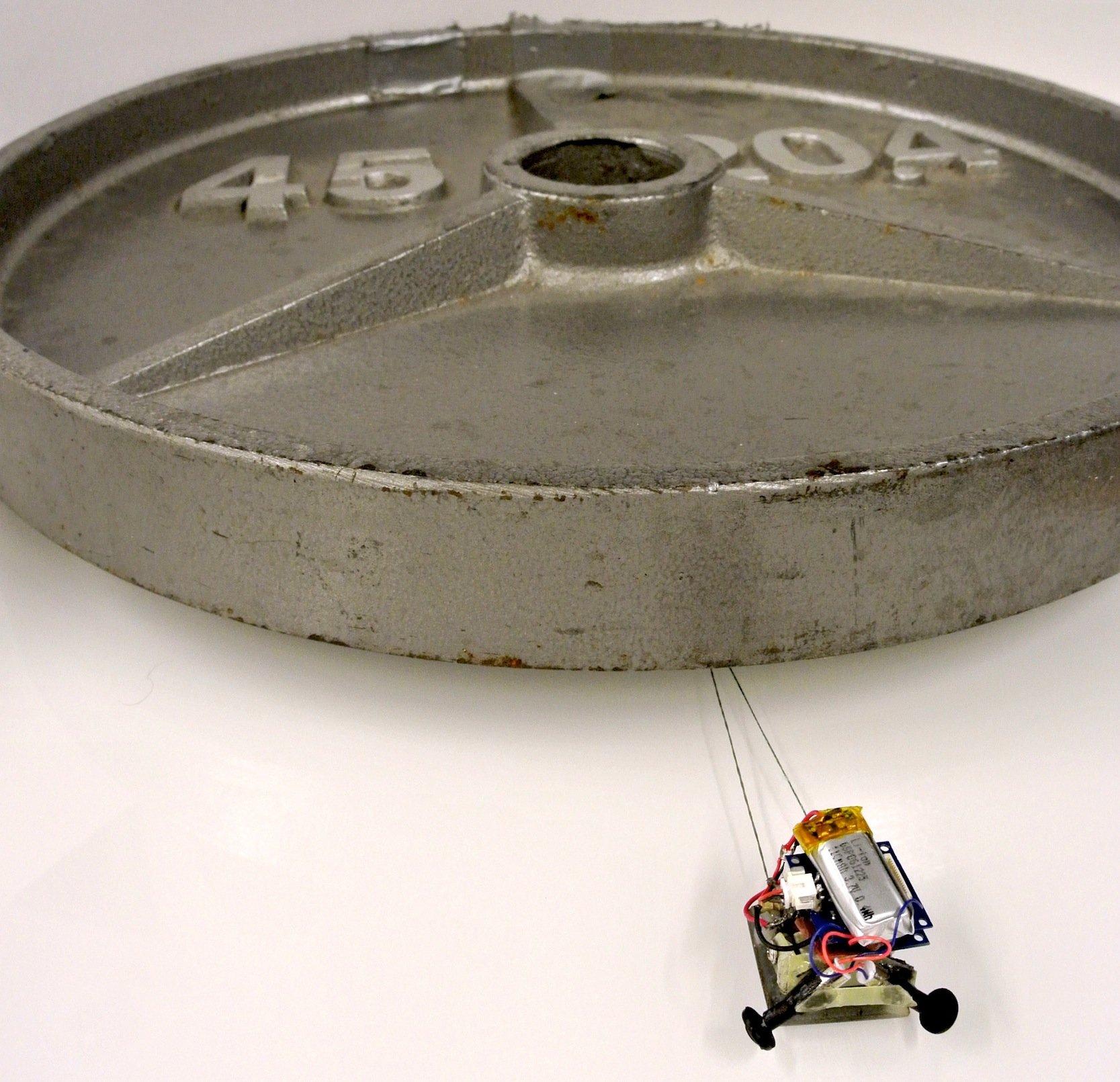 Die kleinen Roboter können durch die enorme Haftung bis zum 2000-fachen ihres Eigengewichts ziehen. Der Roboter auf dem Bild wiegt nur 12 g und zieht ein Gewicht von 21 kg.
