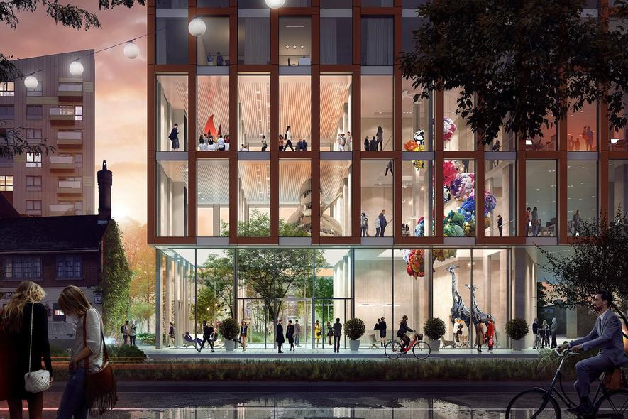 The Stratford Collective: Das britische Architekturbüro PLP plant einen 112-Meter-Turm, in dem auch günstiger Wohnraum für Studenten und junge Erwachsene vorgesehen ist. Wie in einer WG soll es abseits der Privatzimmer Gemeinschaftsküchen, -bäder und weitere Wohnräume zur kollektiven Nutzung geben.