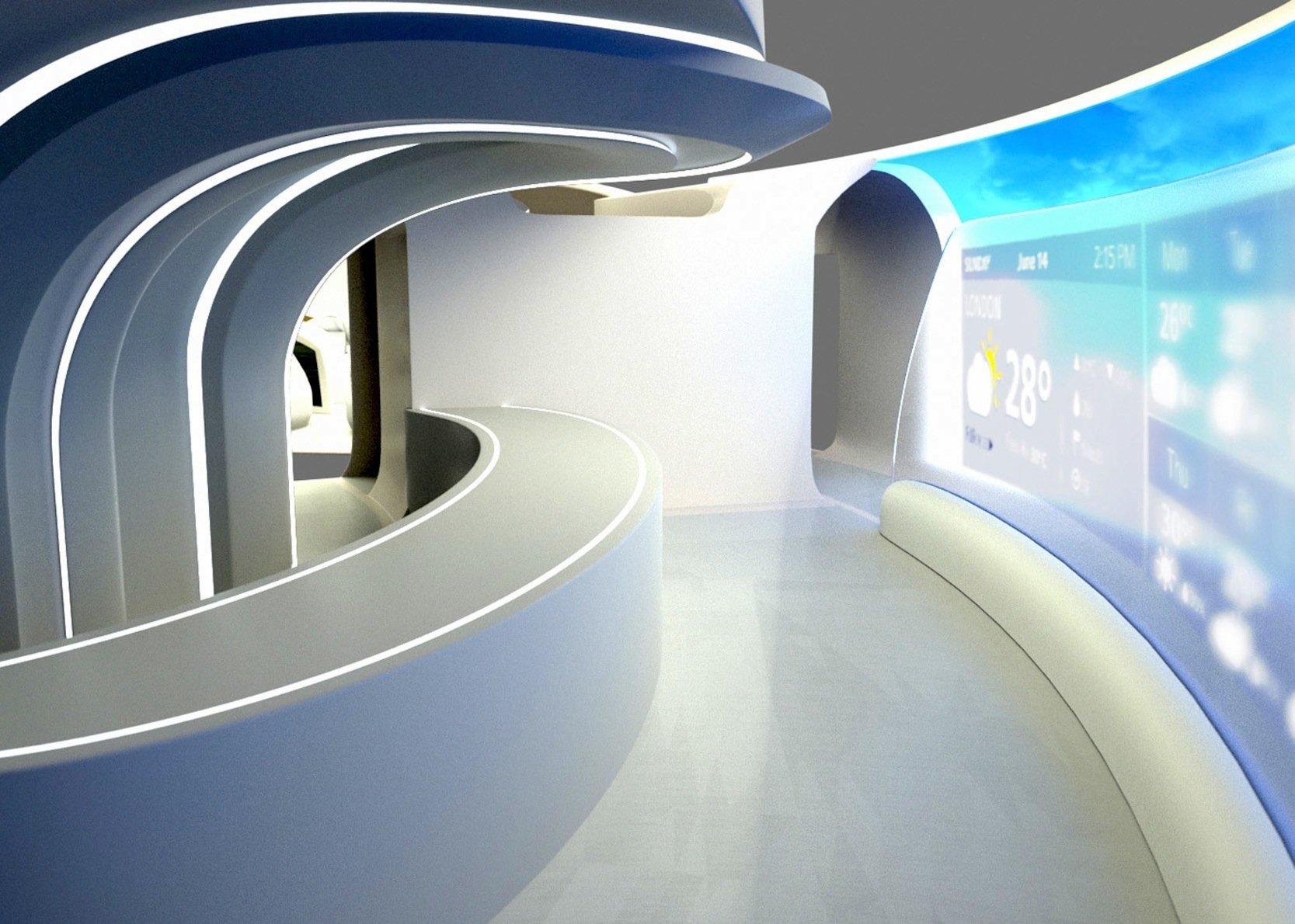 Im Flugzeug soll viel mehr Platz sein als in heutigen Verkehrsmaschinen. Sogar eine Lounge ist vorgesehen. Fenster gibt es jedoch nicht, nur großflächige Displays auf den Kabinenwänden.